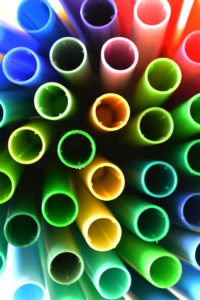 the ends of stacked multicolor tubing